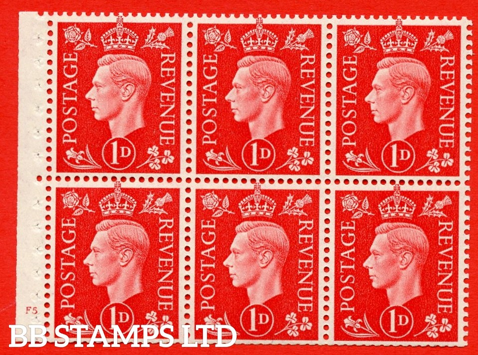 SG. QB10 Perf Type B4(E) 1d Scarlet x 6 Pane, UNMOUNTED MINT Watermark Upright. Cylinder Pane F5 no dot ( SG. 463b ) Perf Type B4(E). Trimmed Perfs.
