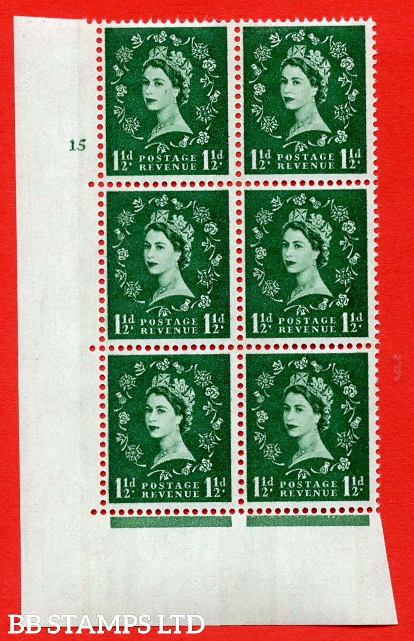 "SG.612. S34. 1½d  Green. A superb UNMOUNTED MINT "" cylinder 15 no dot "" control block of 6 with perf type A (E/I). Blue Phosphor White paper"