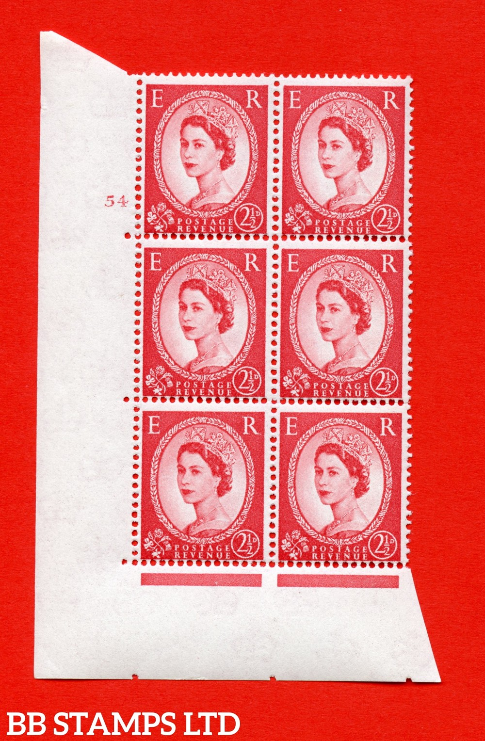 "SG. 574. S55. 2½d Carmine - red.Type II. A superb UNMOUNTED MINT "" cylinder 54 no dot "" control block of 6 with perf type A E/I. CREAM paper."