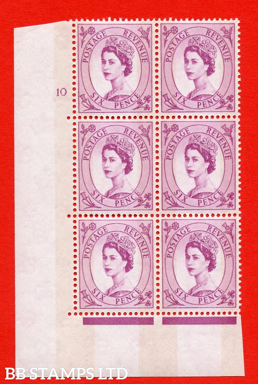 "SG.617. S117. 6d Deep Claret. A superb UNMOUNTED MINT "" cylinder 10 no dot "" control block of 6 with perf type A (E/I). violet Phosphor 9½mm Band."