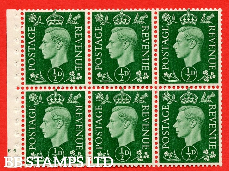 SG. QB1 Perf Type B4(E). ½d Green x 6 Pane, UNMOUNTED MINT Watermark Upright. Cylinder Pane E5 no dot ( SG. 462b ) Perf Type B4(E). Good Perfs.