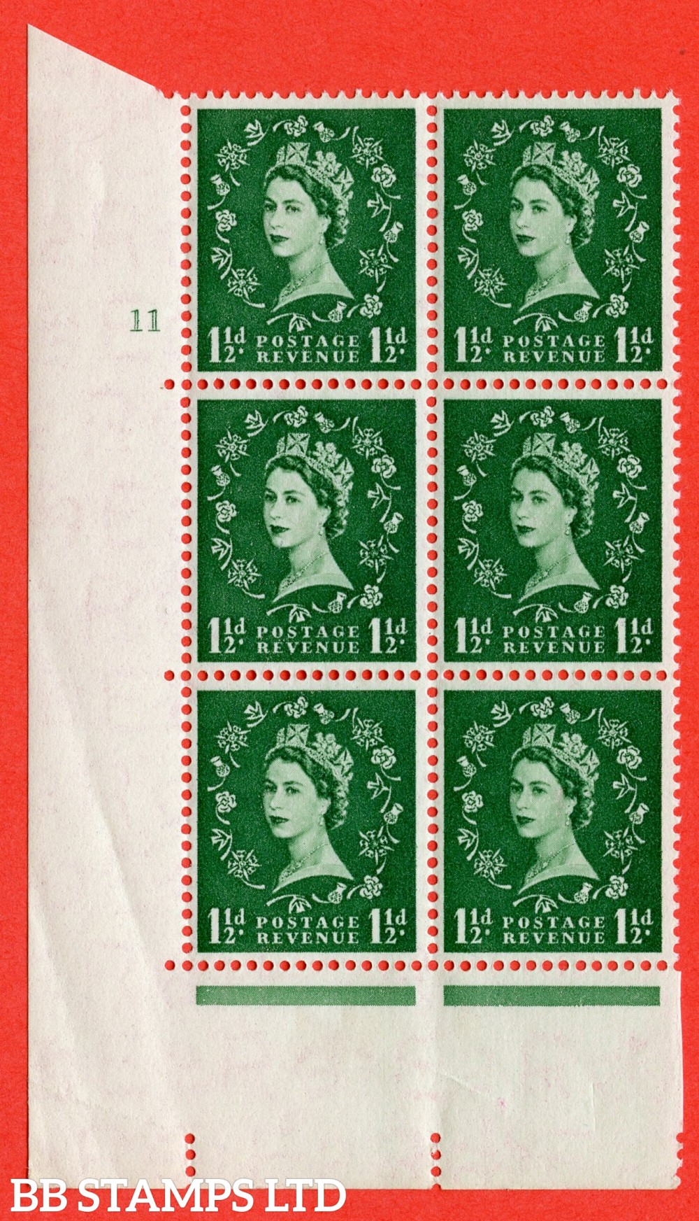 "SG. 542. S26. 1½d. Green. A superb UNMOUNTED MINT "" cylinder 11 no dot "" control block of 6 with perf type A E/I"