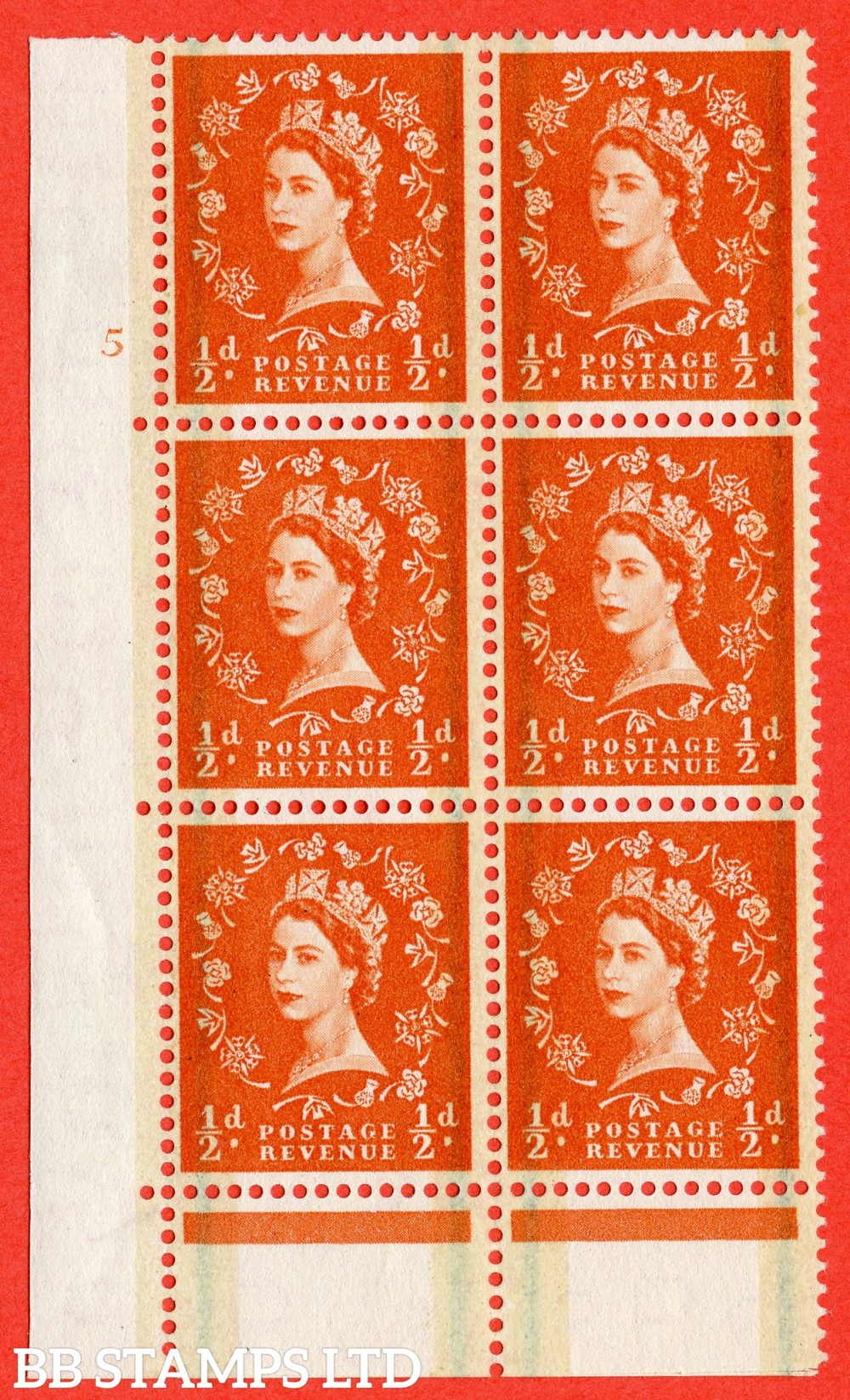 "SG. 599. S8. ½d Orange. A fine lightly mounted mint "" cylinder 5 no dot "" control block of 6 with perf type C E/P."
