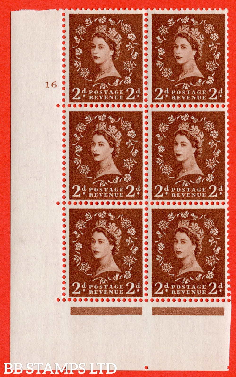 "SG. 543b. S38. 2d. Light Red-brown. A superb UNMOUNTED MINT "" cylinder 16 no dot "" control block of 6 with perf type A E/I."