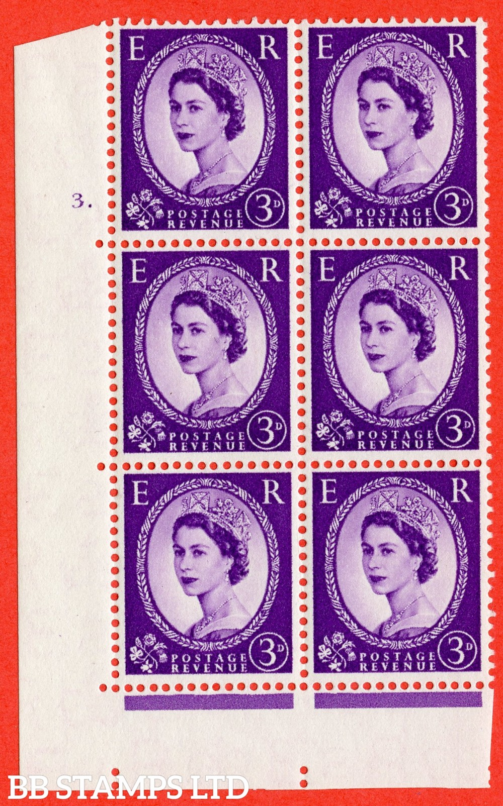 "SG. 545. S68. 3d. Deep - Lilac. A superb UNMOUNTED MINT "" cylinder 3 dot "" control block of 6 with perf type A E/I."