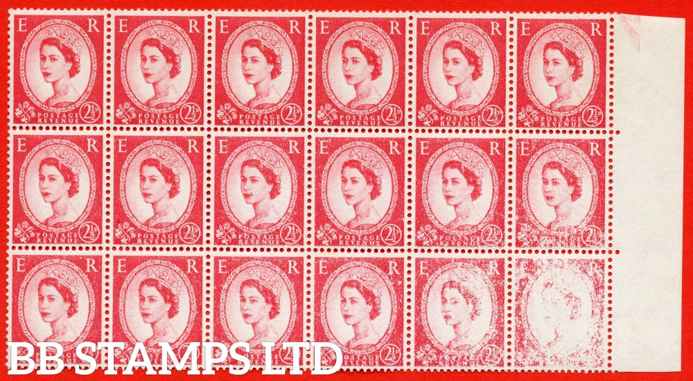 SG. 574. S55. 2½d Carmine - red. Cream Paper. Type II. A superb UNMOUNTED MINTright hand marginal block of 18 with a SUPER DRY PRINT ERROR.
