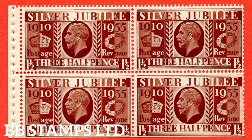 455a NcomB7 1½d Complete booklet pane of 4. UNMOUNTED MINT. 1935 Silver Jubilee. Type III. Trimmed Perfs.