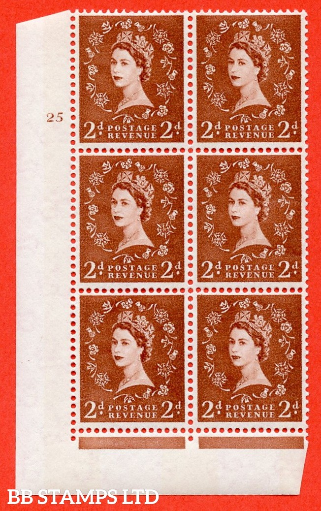 "SG.613a. S49. 2d Light Red Brown. A superb UNMOUNTED MINT "" cylinder 25 no dot "" control block of 6 with perf type Fl (I/E). violet Phosphor 9½mm Band."