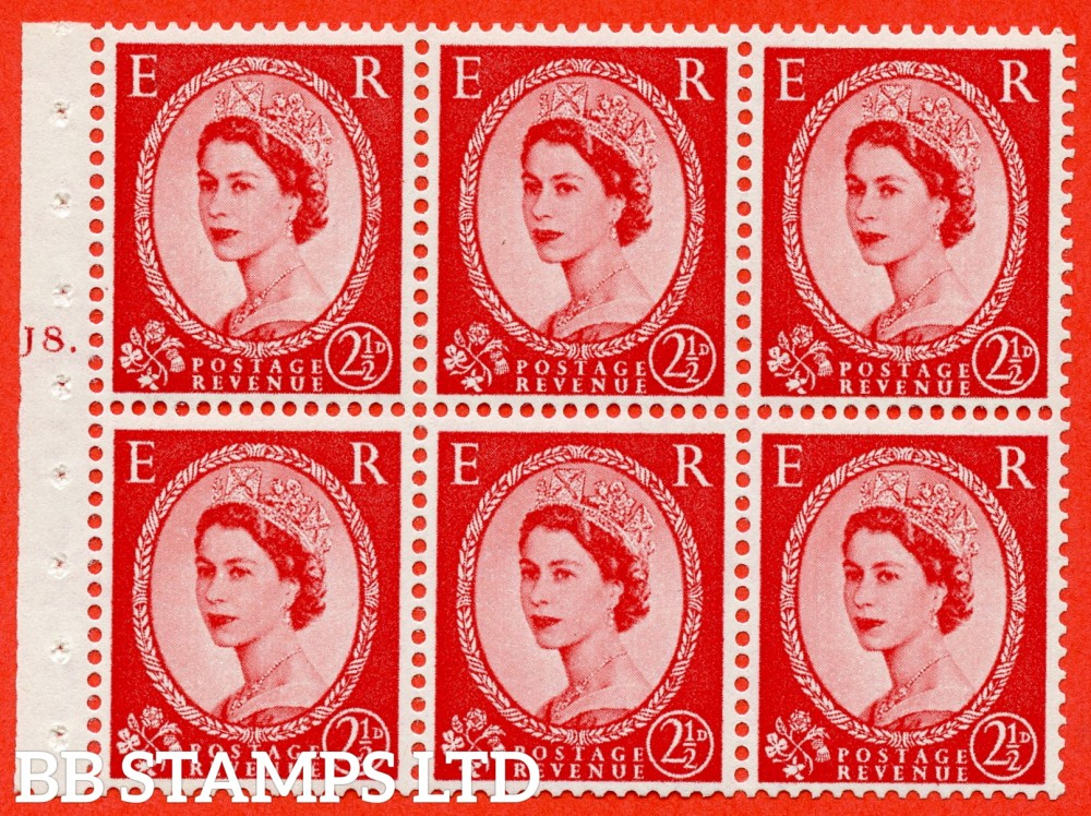 "SG. 544b. SB81. 2½d carmine - red. A superb UNMOUNTED MINT "" J8 T dot "" booklet pane of 6. Perf type (Ieb) with GOOD PERFS. Rough edge"