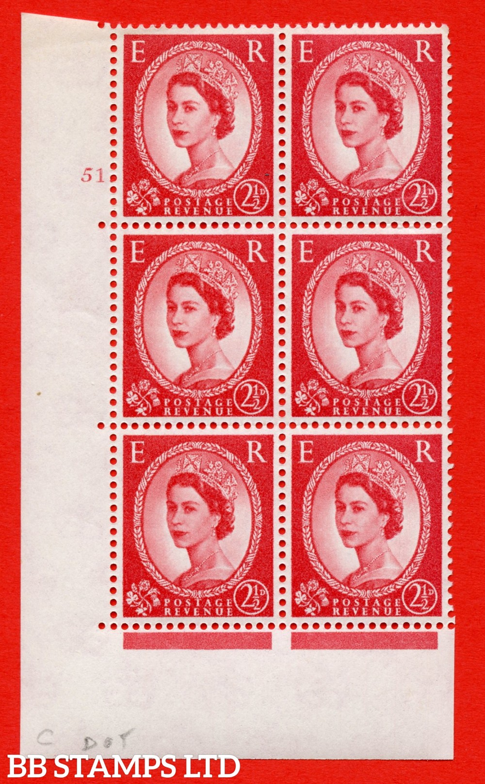 "SG. 574. S55. 2½d Carmine - red.Type II. A superb UNMOUNTED MINT "" cylinder 51 dot "" control block of 6 with perf type A E/I. CREAM paper."