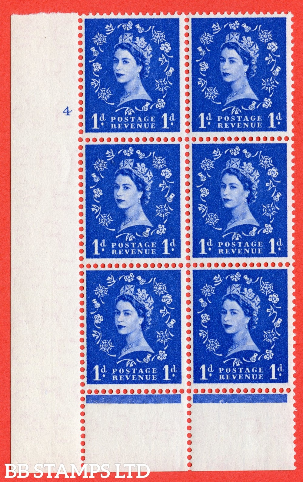 "SG. 541. S14. 1d. Ultramarine. A superb UNMOUNTED MINT "" cylinder 4 no dot "" control block of 6 with perf type B I/P"
