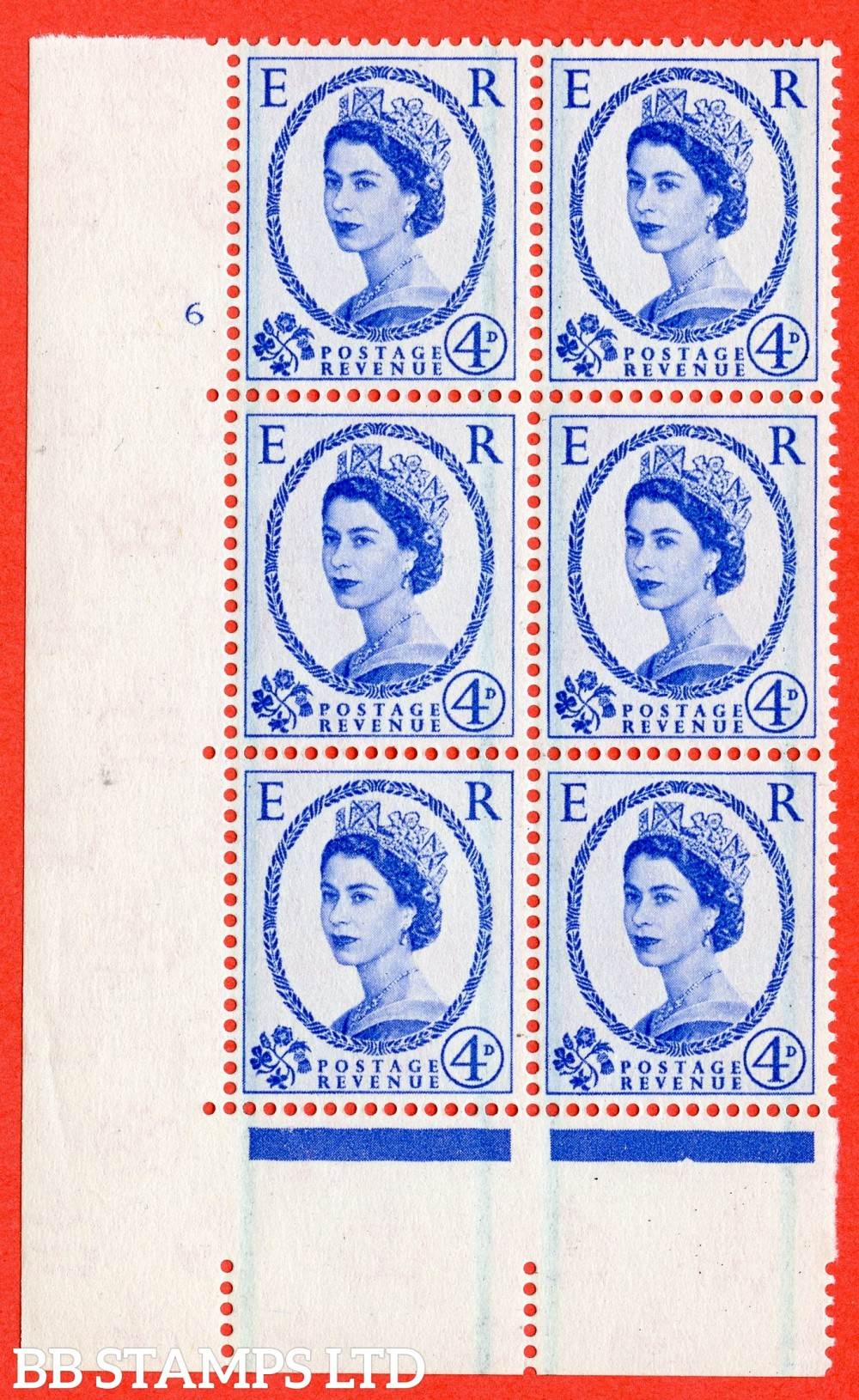 "SG. 593. S86. 4d Ultramarine. A superb UNMOUNTED MINT "" cylinder 6 no dot "" control block of 6 with perf type A E/I."