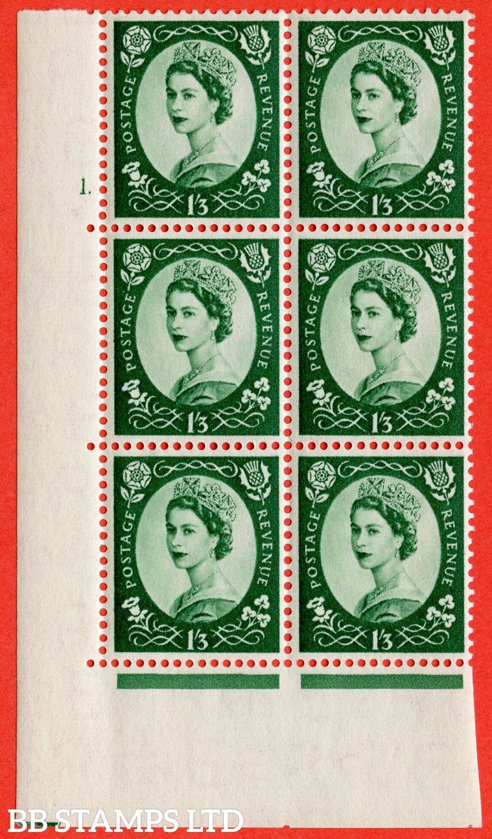 "SG. 555. S142. 1s 3d Green. A superb UNMOUNTED MINT "" cylinder 1 dot "" control block of 6 with perf type A E/I."