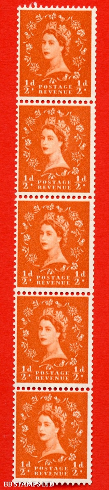 SG. 570. S5f. ½d Orange. A superb UNMOUNTED MINT example. Coil strip of 5. White paper. With a Large dot by daffodil ERROR. Roll 4 variety.