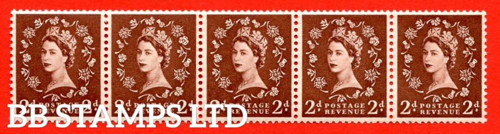 "SG. 543a. S37m. 2d. Red-brown. A superb UNMOUNTED MINT example. Coil strip of 5. WATERMARK sideways left. With a Retouched left ""2"". ERROR. Roll 5 variety."