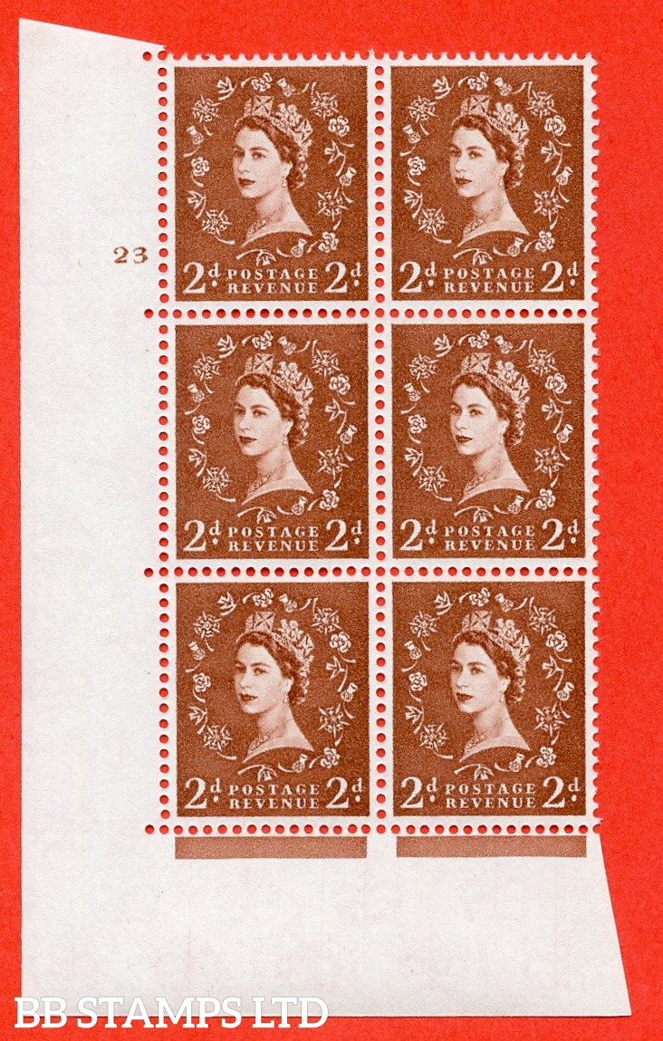"SG. 573. S41. 2d Red - Brown. A superb UNMOUNTED MINT "" cylinder 23 no dot "" control block of 6 with perf type A E/I. WHITE paper."