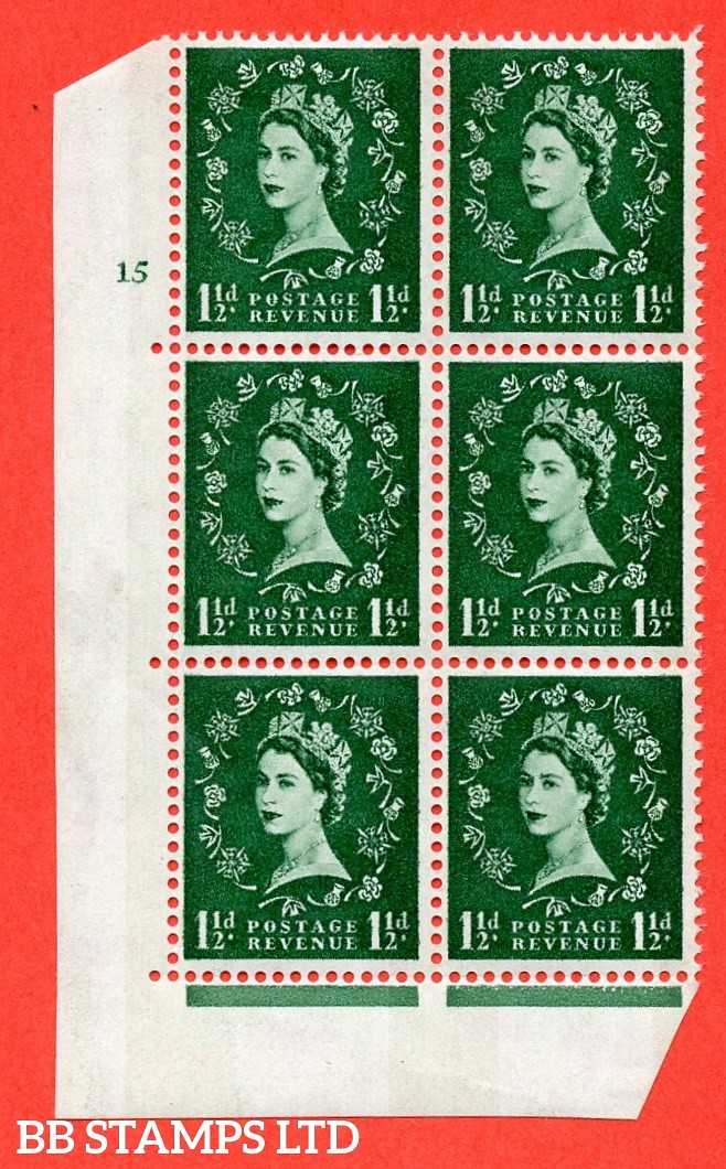 "SG.612. S34. 1½d  Green. A fine mounted mint "" cylinder 15 no dot "" control block of 6 with perf type A (E/I). Blue Phosphor White paper"