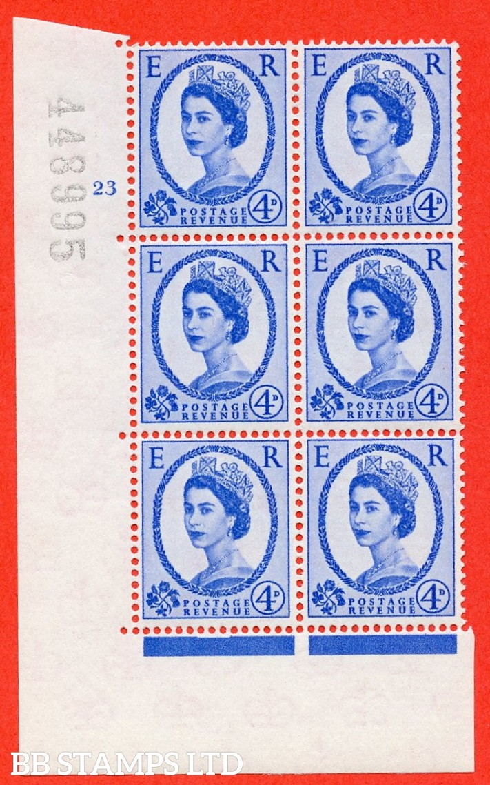 "SG. 576a. S85. 4d Deep Ultramarine. A superb UNMOUNTED MINT "" cylinder 23 no dot "" control block of 6 with perf type A E/I. WHITE paper."