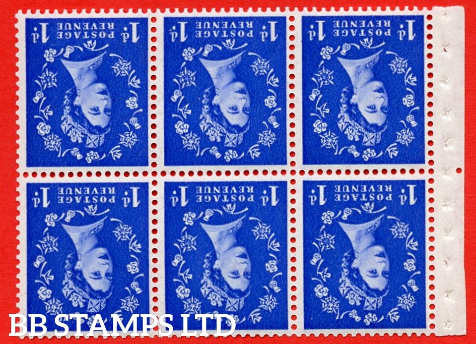 SG. 516. SB20ab. 1d ultramarine. A fine UNMOUNTED MINT example. Complete booklet pane of 6. With a extended leaf on shamrock ERROR. R.2/1 variety. Good perfs.