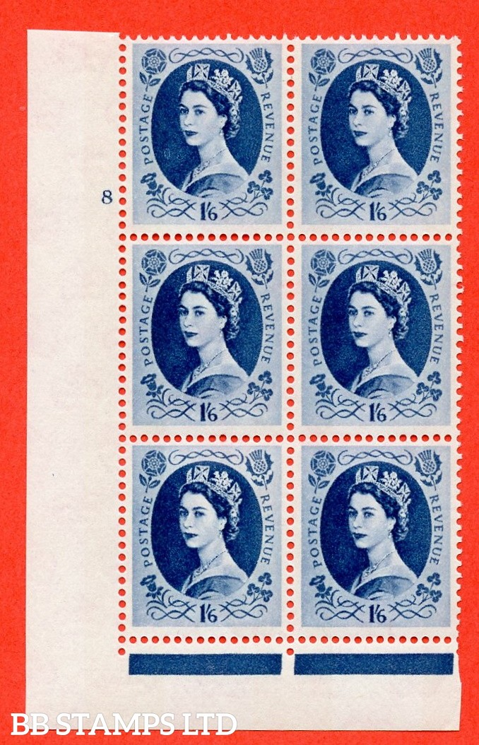 "SG.618a. S154. 1/6d Grey Blue. A superb UNMOUNTED MINT "" cylinder 8 no dot "" control block of 6 with perf type FL (I/E). violet Phosphor 9½mm"
