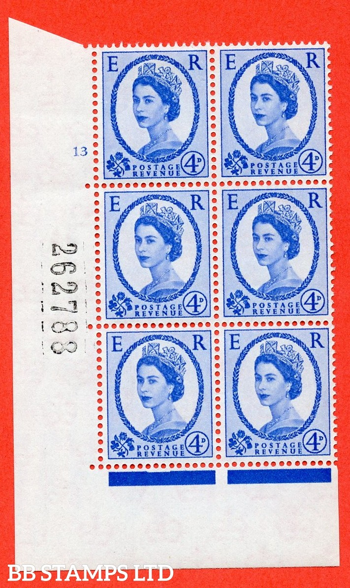 "SG. 576a. S85. 4d Deep Ultramarine. A superb UNMOUNTED MINT "" cylinder 13 no dot "" control block of 6 with perf type A E/I. WHITE paper."