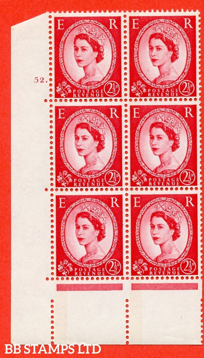 "SG.614a. S65. 2½d Carmine red. LB Photo. A superb UNMOUNTED MINT "" cylinder 52 dot "" control block of 6 with perf type A (E/I). Blue Phosphor White paper"