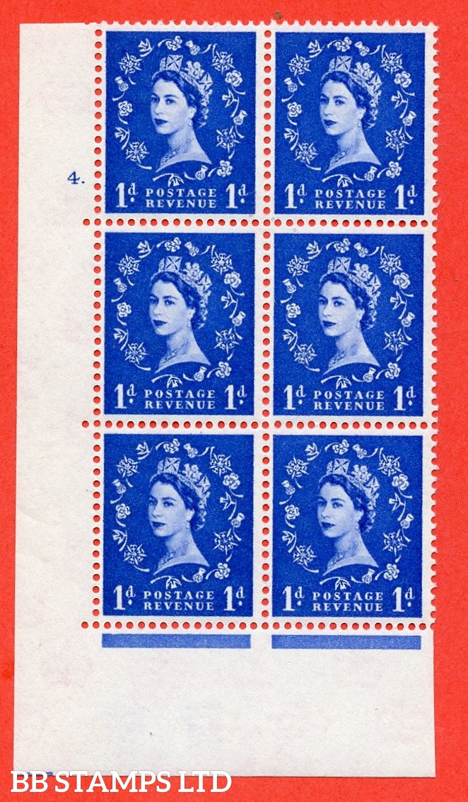 "SG. 571. S17. 1d Ultramarine. A superb UNMOUNTED MINT "" cylinder 4 dot "" control block of 6 with perf type A E/I. WHITE paper."