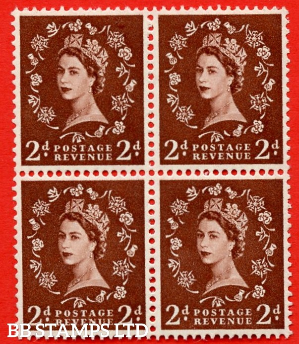 SG. 543. S37g. 2d. Red-brown. A superb MOUNTED MINTexample block of 4. With a tadpole flaw Retouched ERROR R. 17/6 variety.