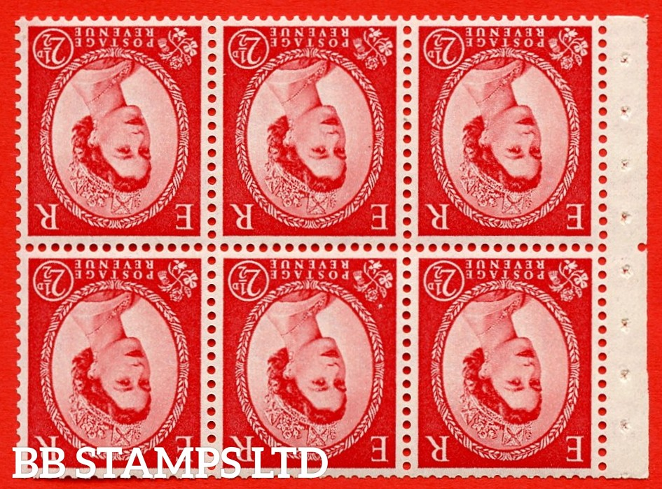 SG. 519bwi SB80. 2½d carmine - red. A fine UNMOUNTED MINT. WATERMARK INVERTED Complete booklet pane of 6. Perf type (Iem) with Good PERFS.