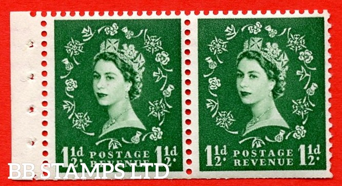 SG. 517N. SB61. 1½d Green. A fine UNMOUNTED MINT. Complete booklet pane of 2 with perf type E. Trimmed perfs.