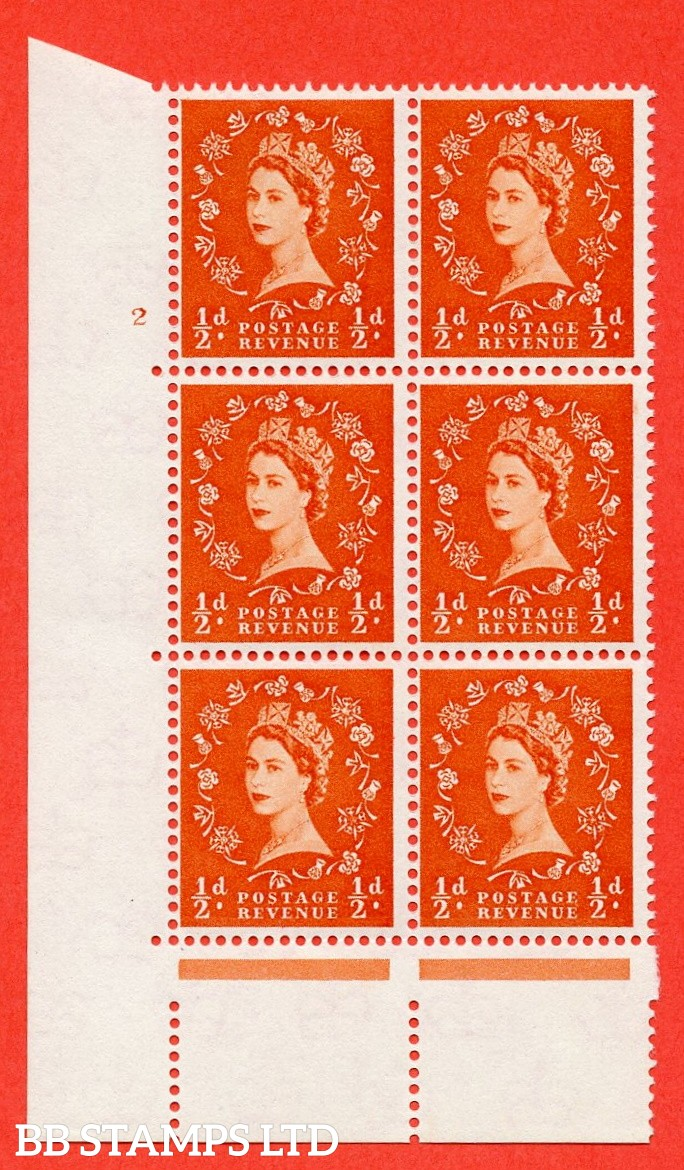 "SG. 570. S4. ½d Orange. A fine mounted mint "" cylinder 2 no dot "" control block of 6 with perf type A E/I. CREAM paper."