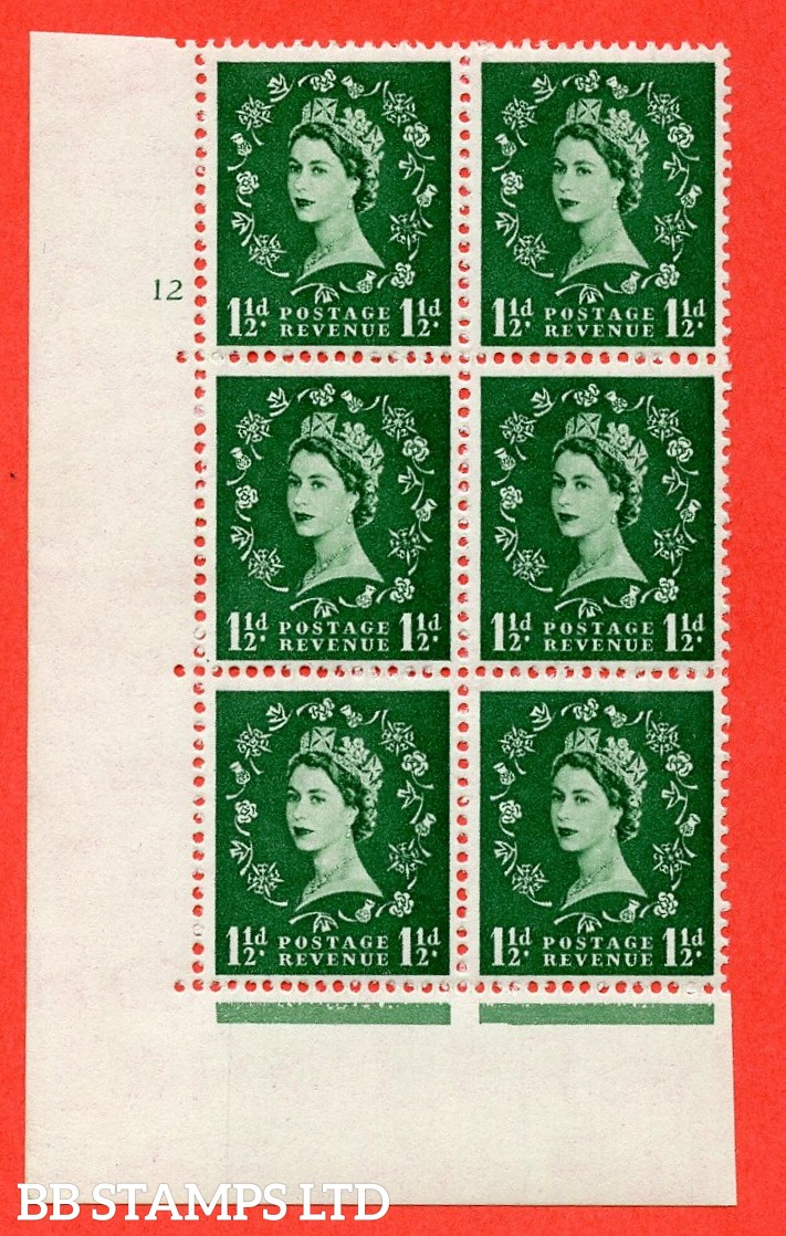 "SG. 517. S25. 1½d Green. A fine lightly mounted mint "" cylinder 12 no dot "" control block of 6 with perf type A E/I."