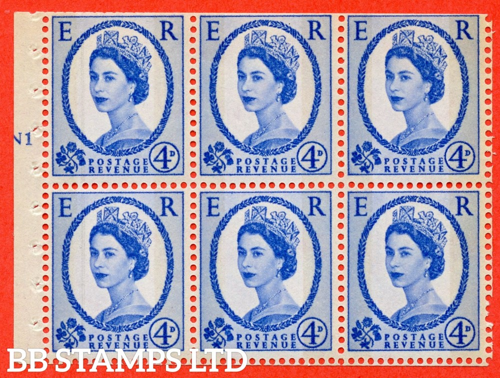 "SG. 616a. SB111. 4d Deep Ultramarine. A fine UNMOUNTED MINT cylinder "" N1 T No dot "" booklet pane of 6. Perf type (I) with TRIMMED PERFS. Smooth edge."