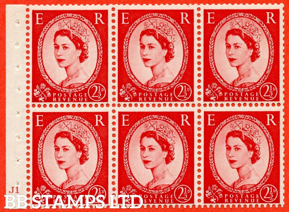 "SG. 519 b. SB80. 2½d carmine - red. A fine UNMOUNTED MINT cylinder "" J1 no dot "" booklet pane of 6. Perf type (I) with GOOD PERFS. Smooth edge."