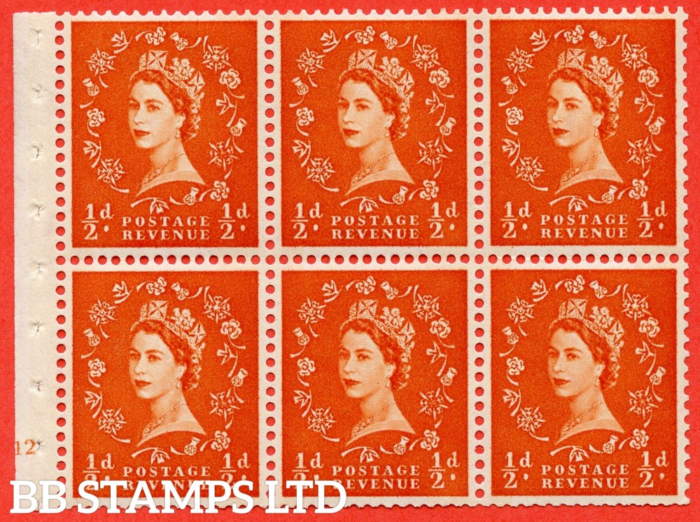 "SG. 610. SB16. ½d Orange Red. A fine mounted mint cylinder "" E12 no dot "" booklet pane of 6. Perf type (I) with TRIMMED PERFS. Smooth edge. Cream Paper."