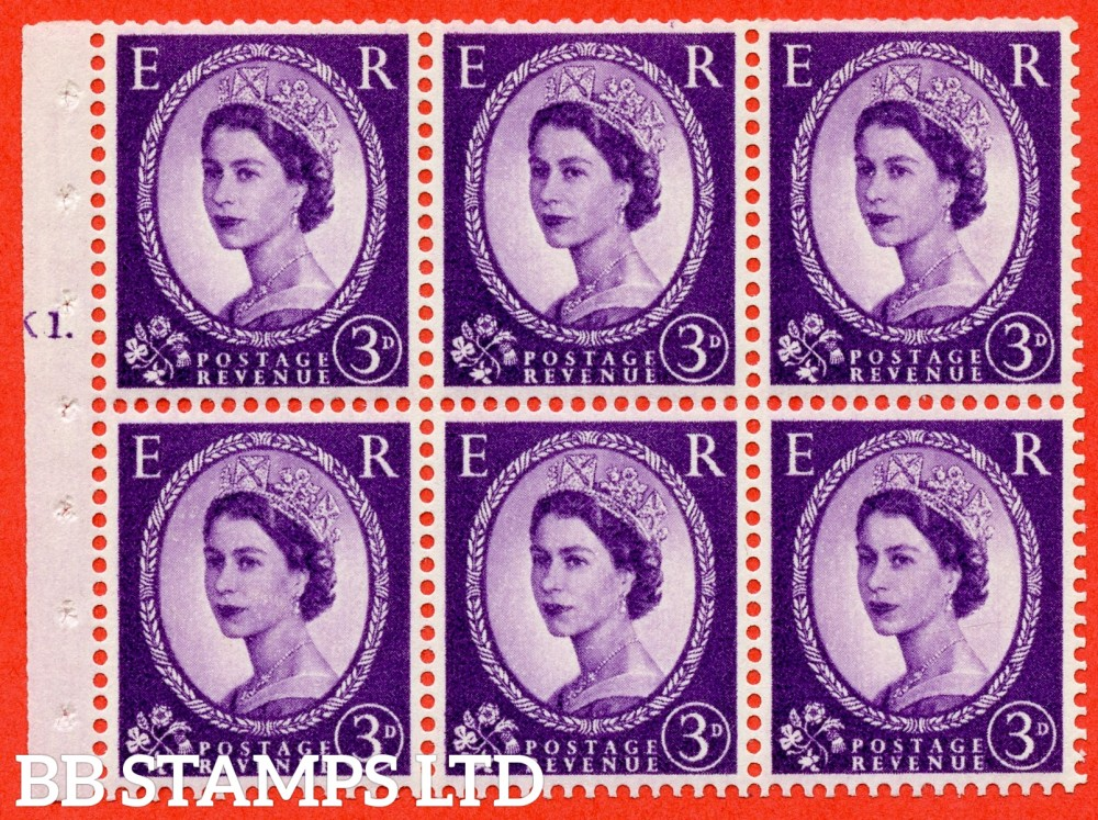 "SG. 545. SB90. 3d Deep Lilac. A fine UNMOUNTED MINT cylinder "" K1 T dot "" booklet pane of 6. Perf type (Iet) with TRIMMED PERFS. Smooth edge."