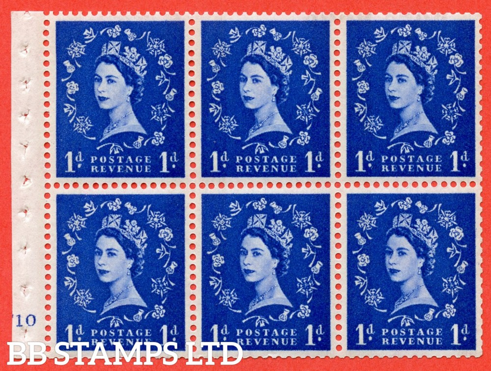 "SG. 611. SB49. 1d Ultramarine. A fine UNMOUNTED MINT cylinder "" F10 no dot "" booklet pane of 6. Perf type (I) with GOOD PERFS. Smooth edge. White Paper."