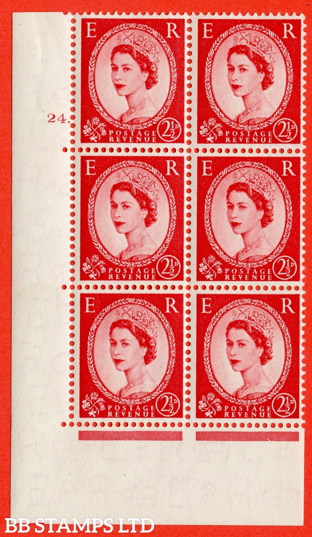 "SG. 519. S50. 2½d Carmine Red. A fine mounted mint "" cylinder 24 dot "" control block of 6 with perf type A E/I."