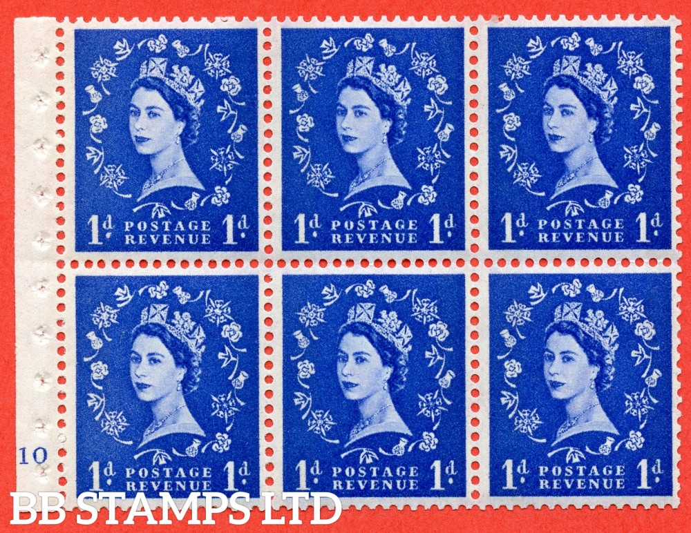 "SG. 611. SB42. 1d Ultramarine. A fine UNMOUNTED MINT cylinder "" F10 no dot "" booklet pane of 6. Perf type (I) with GOOD PERFS. Smooth edge. White Paper."