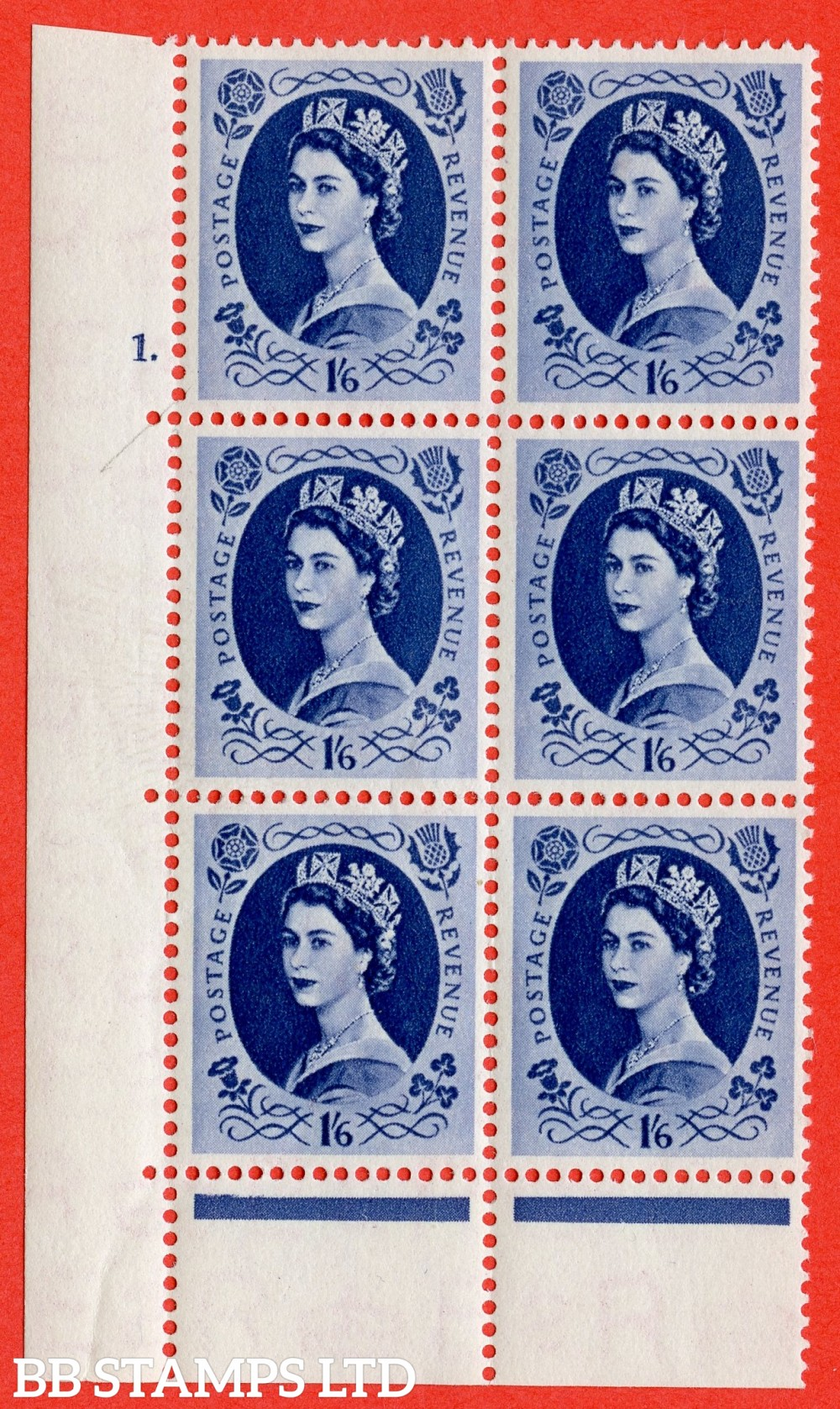"""SG. 531. S150a & b. 1s.6d. Grey-blue. A superb UNMOUNTED MINT """" cylinder 1 dot """" control block of 6 with perf type C E/P with both listed varieties """" White Flaw in Qeens hair below diadem Row 20/1 """" and """" Wwhite Flaw in Qeens hair opposite N of Revenue Ro"""