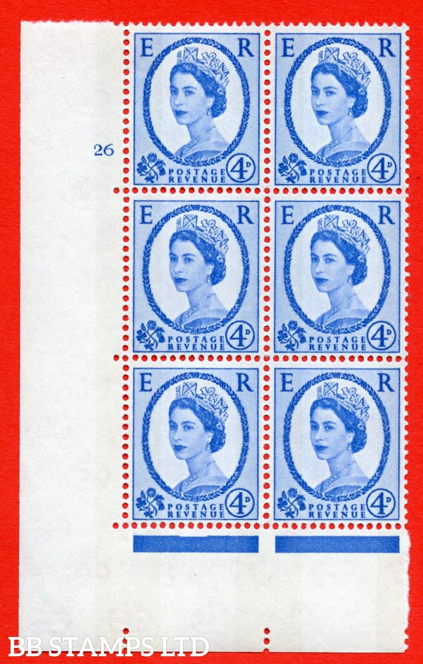 "SG.616a. S92. 4d Deep Ultramarine. A superb UNMOUNTED MINT "" cylinder 26 no dot "" control block of 6 with perf type A (E/I). violet Phosphor 9½mm Band."