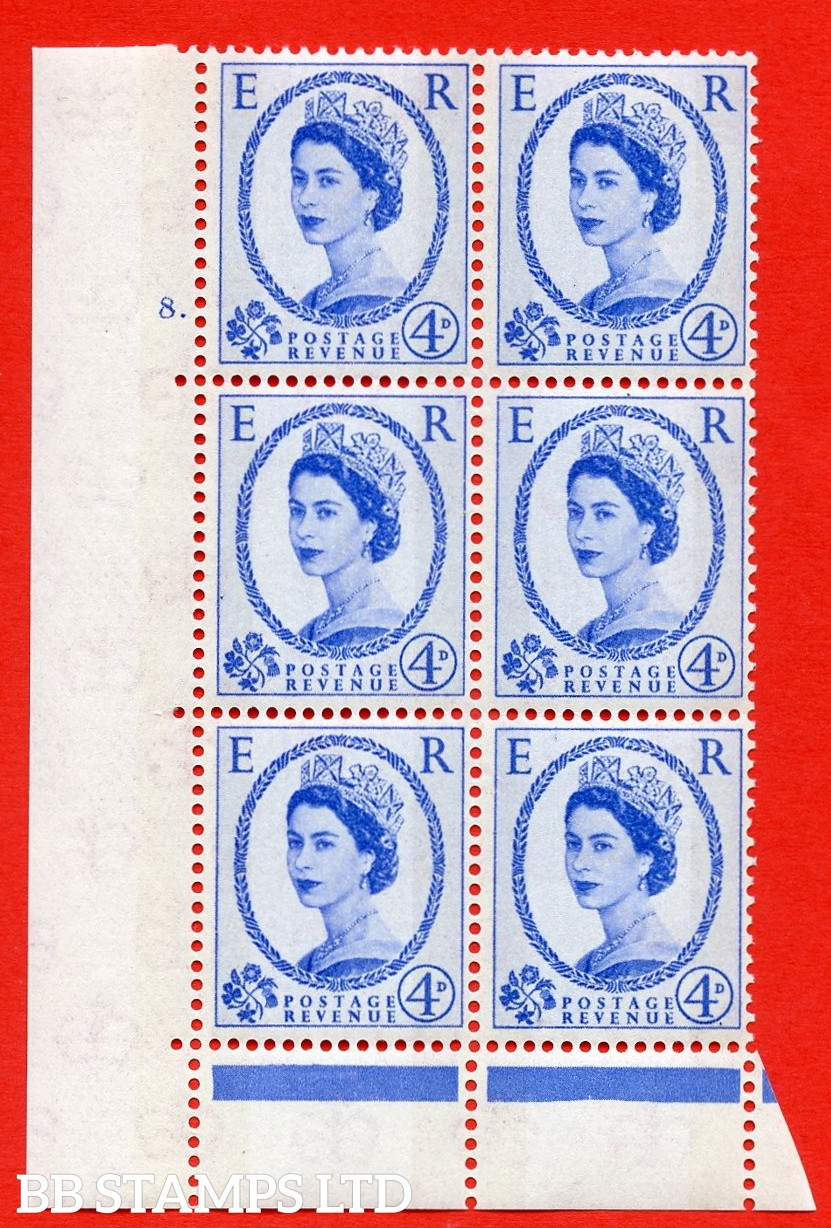 "SG.616. S89. 4d Ultramarine. A superb UNMOUNTED MINT "" cylinder 8 dot "" control block of 6 with perf type C (E/P). Blue Phosphor Cream paper."