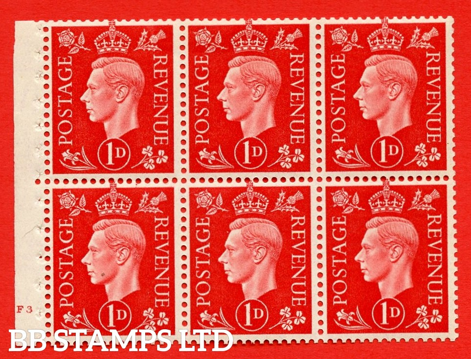 SG. QB10 Perf Type B4(E) 1d Scarlet x 6 Pane, MOUNTED MINT Watermark Upright. Cylinder Pane F3 no dot ( SG. 463b ) Perf Type B4(E). Good Perfs.