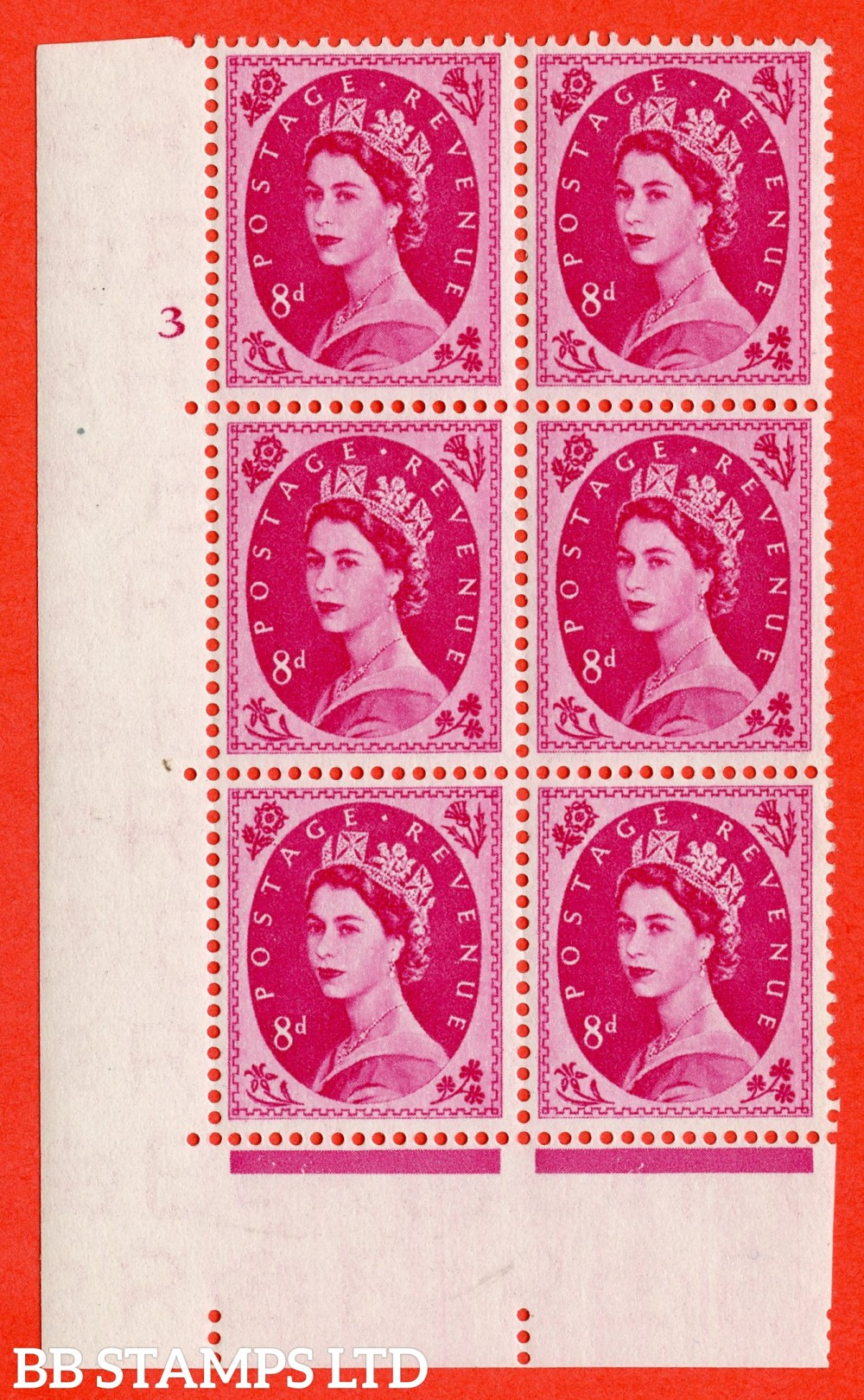 "SG. 550. S120. 8d. Magenta. A superb UNMOUNTED MINT "" cylinder 3 no dot "" control block of 6 with perf type A E/I."