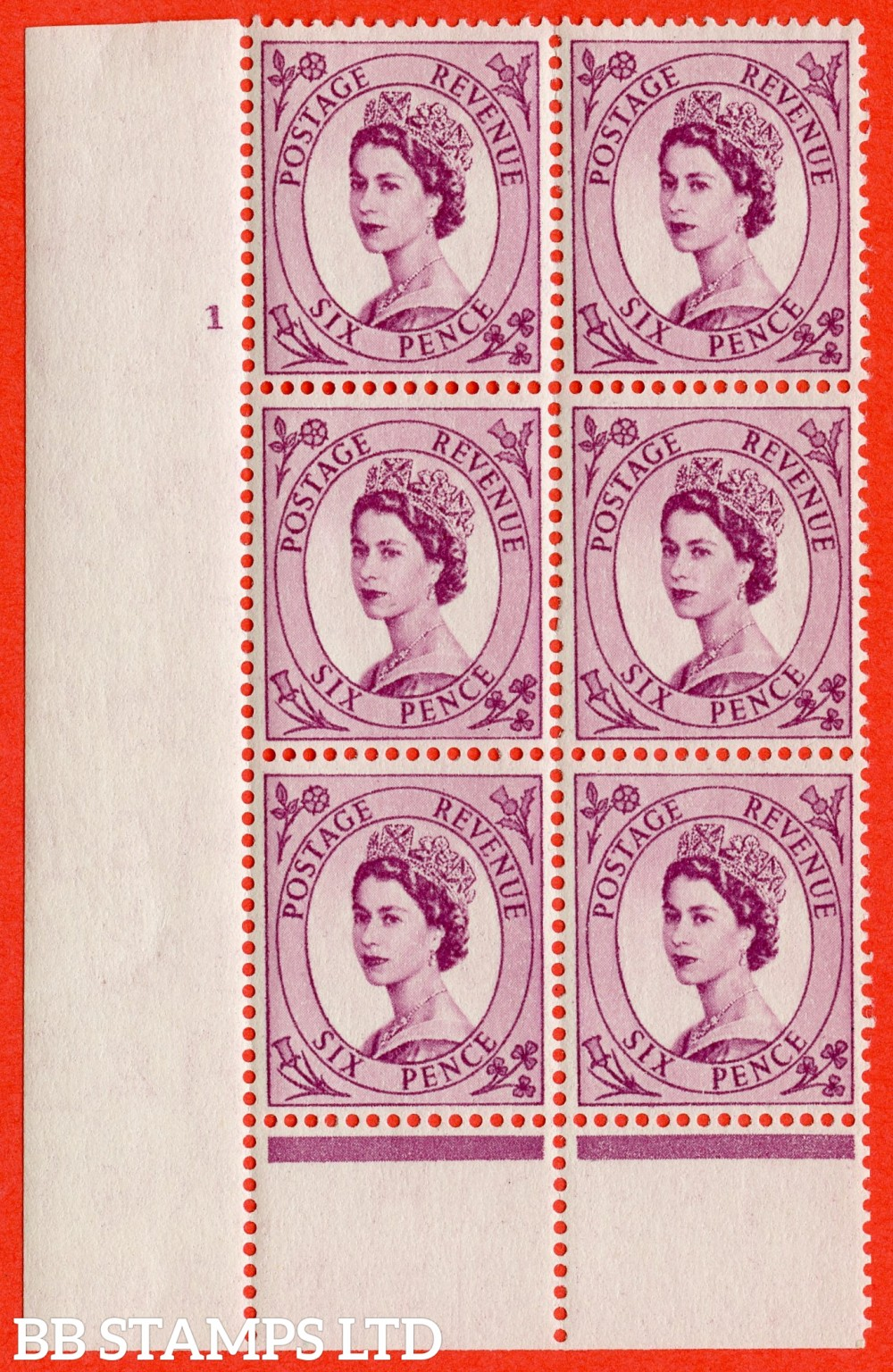 "SG. 548. S105. 6d. Reddish Purple. A fine lightly mounted mint "" cylinder 1 no dot "" control block of 6 with perf type B I/P."