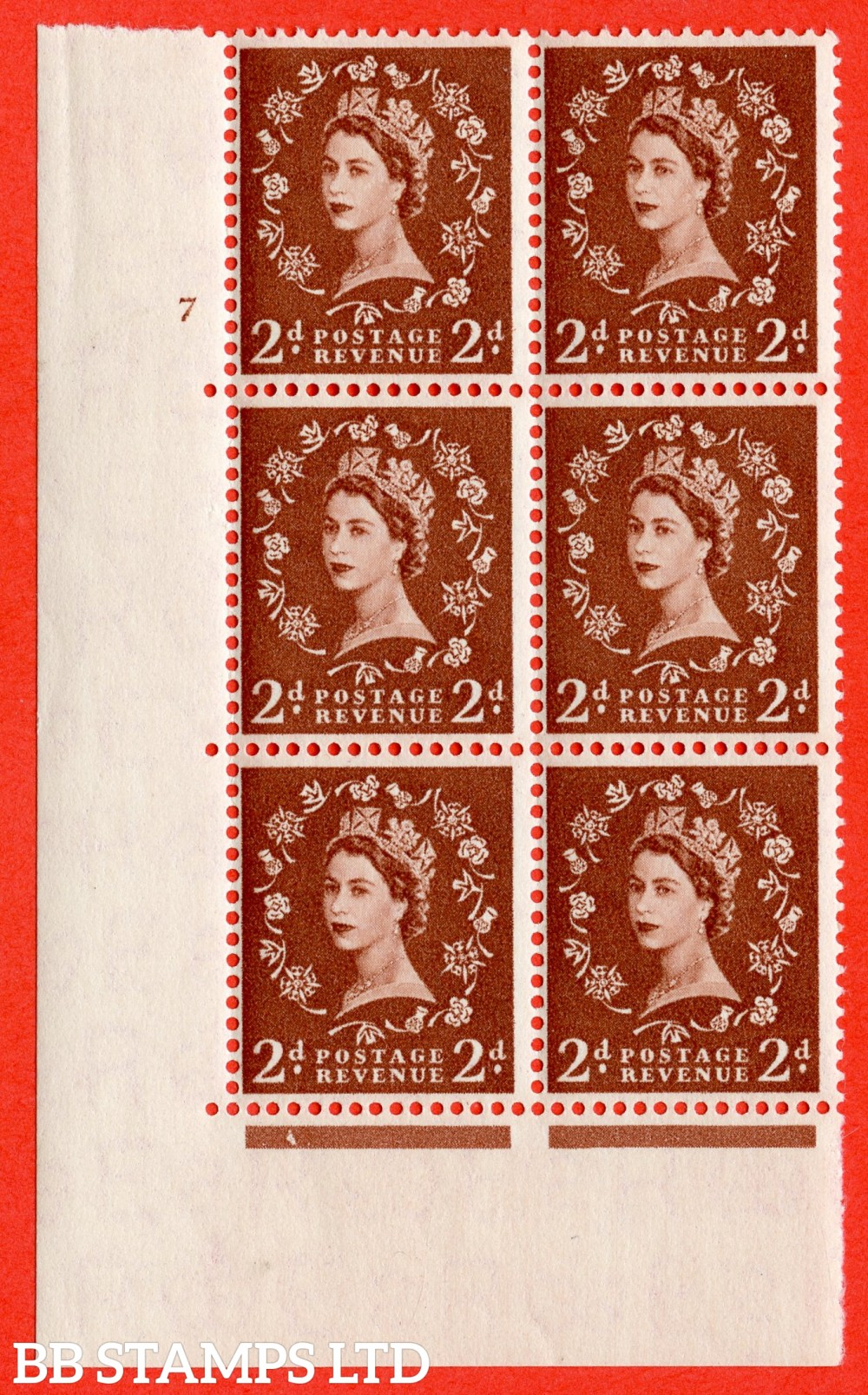 "SG. 543b. S38. 2d. Light Red-brown. A superb UNMOUNTED MINT "" cylinder 7 no dot "" control block of 6 with perf type A E/I."