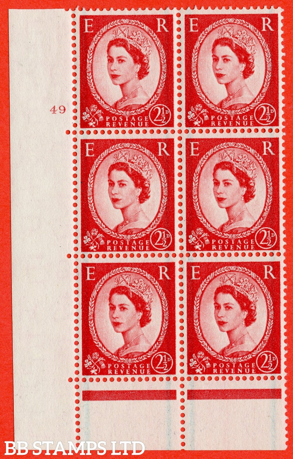 "SG. 565. S54. 2½d Carmine - red. A fine lightly mounted mint "" cylinder 49 no dot "" control block of 6 with perf type C E/P."