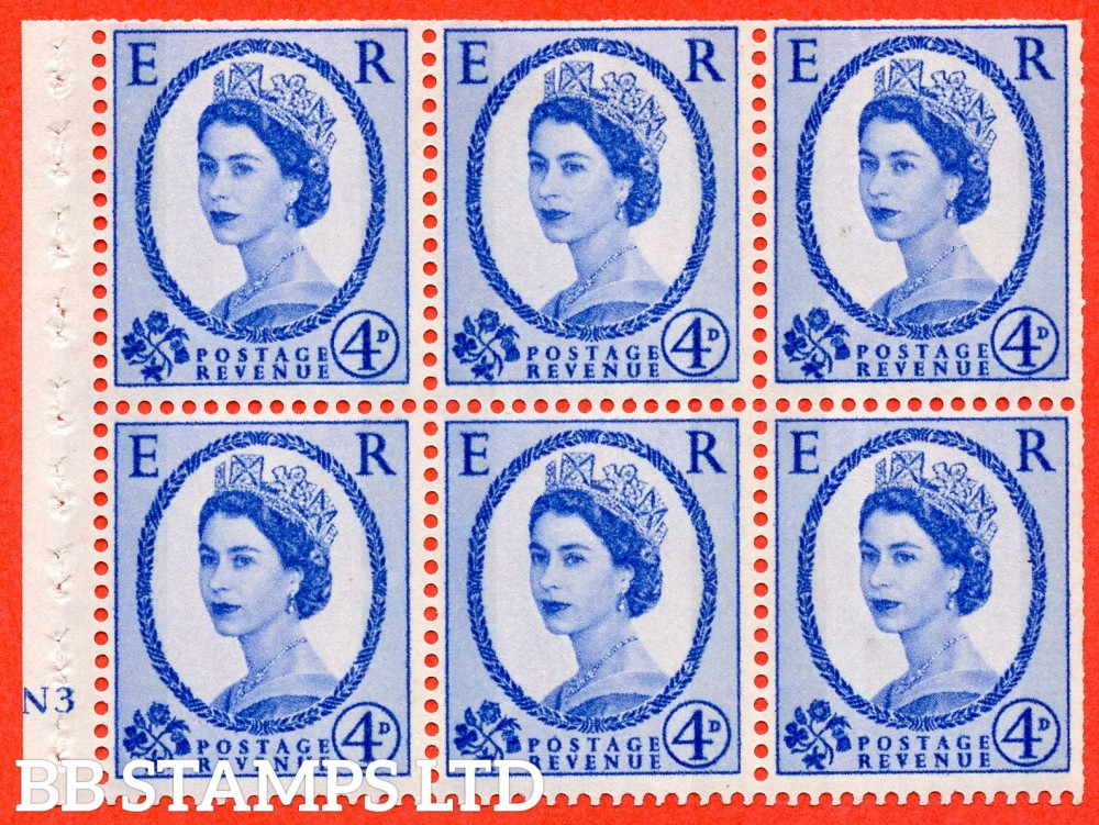 "SG. 616a. SB109c. 4d Deep Ultramarine. A fine mounted mint cylinder "" N3 no dot "" booklet pane of 6. Perf type (I) with TRIMMED PERFS. Smooth edge. White Paper. With listed variety "" Y Flaw "" Row 2/2."