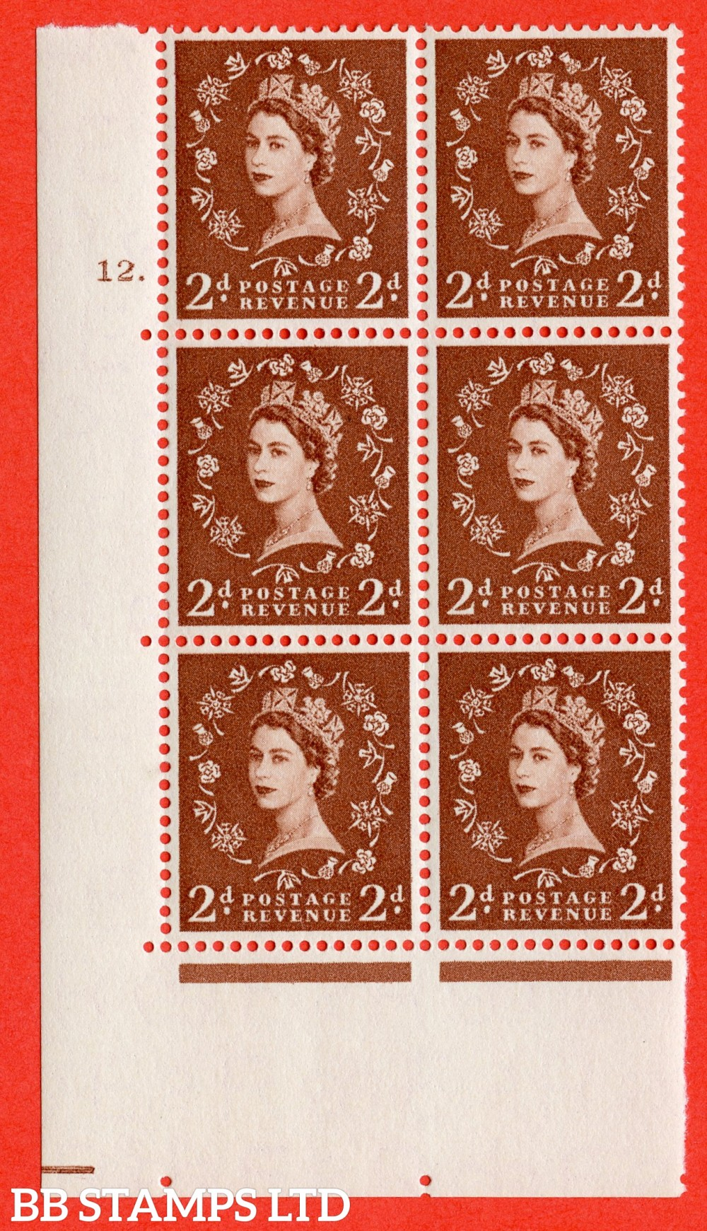 "SG. 543b. S38. 2d. Light Red-brown. A superb UNMOUNTED MINT "" cylinder 12 dot "" control block of 6 with perf type A E/I."