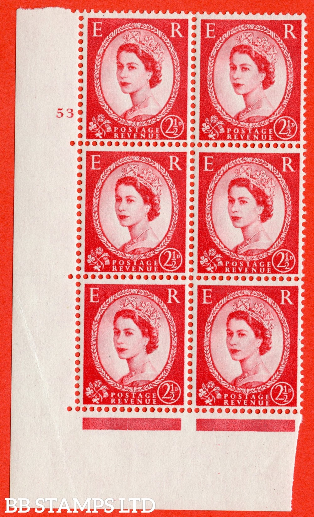 "SG. 574. S57. 2½d Carmine - red.Type II. A fine lightly mounted mint "" cylinder 53 no dot "" control block of 6 with perf type A E/I. WHITE paper."